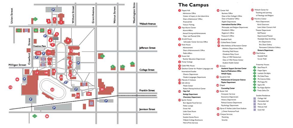 Wabash College Campus Map.Wabash College Lacrosse Camp